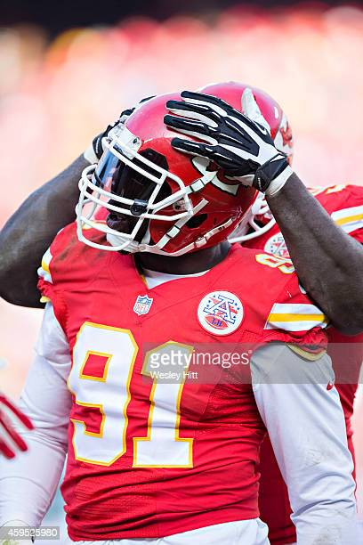 Tamba Hali of the Kansas City Chiefs celebrates after sacking the quarterback during a game against the Seattle Seahawks at Arrowhead Stadium on...