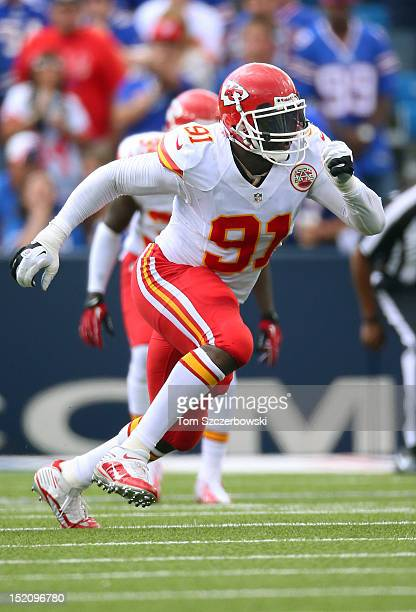 Tamba Hali of the Kansas City Chiefs in action during an NFL game against the Buffalo Bills at Ralph Wilson Stadium on September 16 2012 in Orchard...