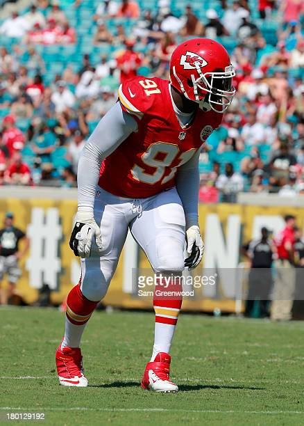 Tamba Hali of the Kansas City Chiefs lines up during the game against the Jacksonville Jaguars at EverBank Field on September 8 2013 in Jacksonville...