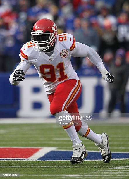 Tamba Hali of the Kansas City Chiefs pursues the play against the Buffalo Bills during the first half at Ralph Wilson Stadium on November 09 2014 in...