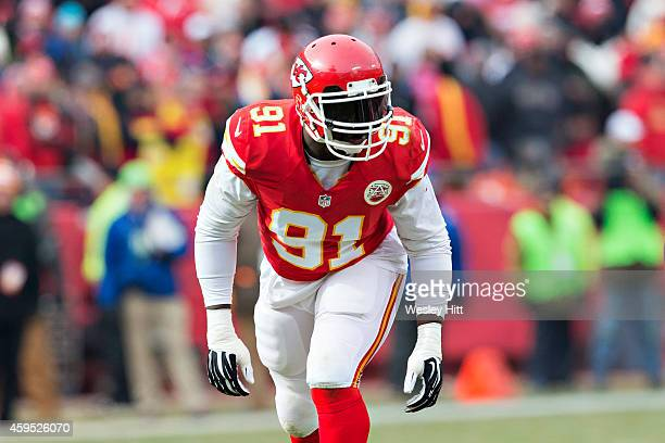 Tamba Hali of the Kansas City Chiefs waits at the line of scrimmage during a game against the Seattle Seahawks at Arrowhead Stadium on November 16...