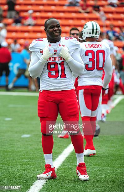 Tamba Hali of the Kansas City Chiefs warms up before the 2013 Pro Bowl against the National Football Conference team at Aloha Stadium on January 27...