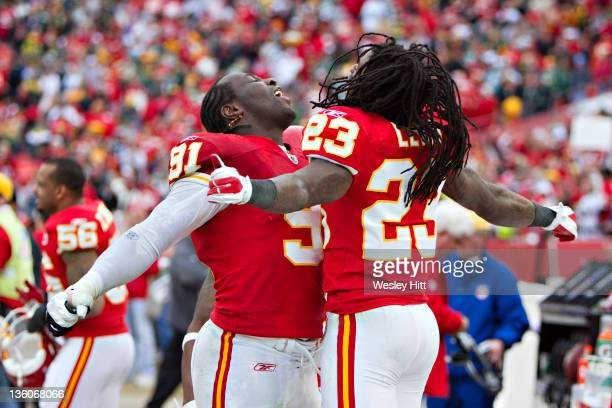 Tamba Hall and Kendrick Lewis of the Kansas City Chiefs celebrate after a win against the Green Bay Packers at Arrowhead Stadium on December 18 2011...