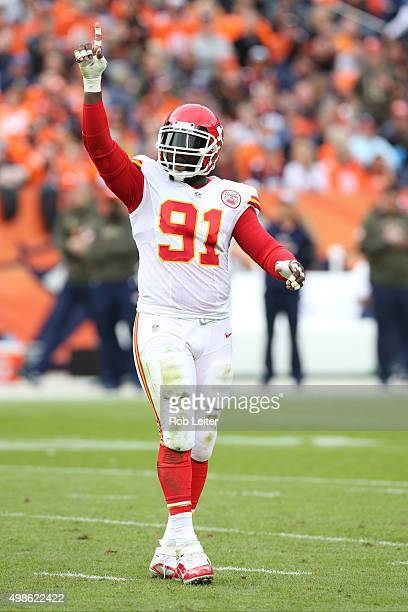 Tamba Hall of the Kansas City Chiefs celebrates during the game against the Denver Broncos at Sports Authority Field At Mile High on November 15 2015...