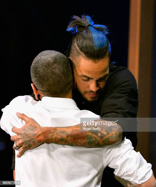Tambe and Anthony Michaels embrace duirng the Ink Master Season 10 Finale at the Park Theater at Monte Carlo Resort and Casino in Las Vegas on April...