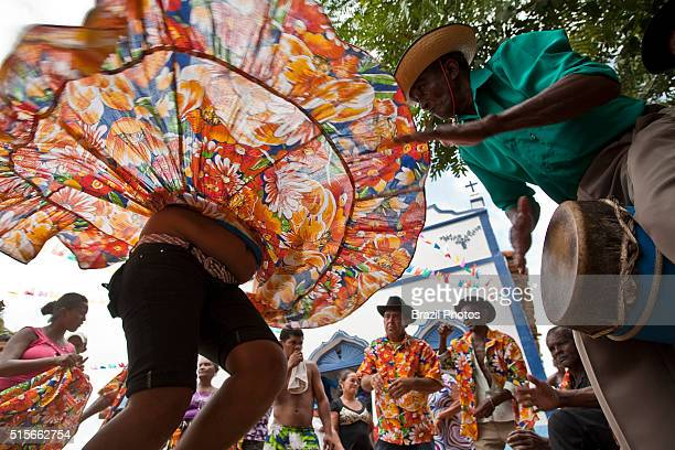 Tambor de Crioula dance celebrating Santa Teresa D`Avila party at Itamatatiua Quilombo in Alcantara Maranhao State Northeastern Brazil tambor de...
