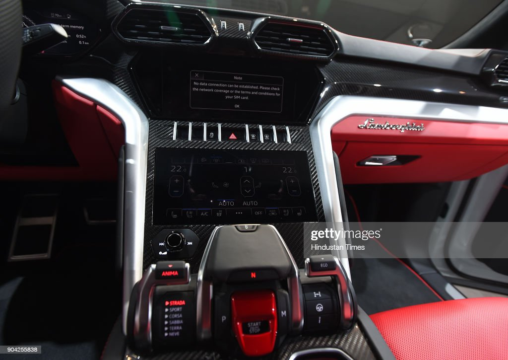 Tamburo drive mode selector of the New Lamborghini Urus the world's super sport utility vehicle Launch at Famous Studio Mahalaxmi on January 11, 2018 in Mumbai, India. In a little over a month after its global unveil, Lamborghini has now launched the Urus in India at Rs 3 crore (ex-showroom), making it the new entry point to the brand.