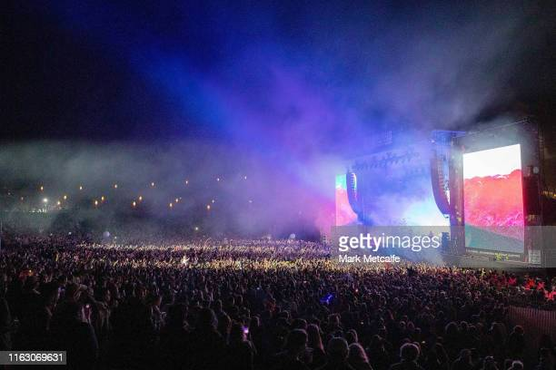 Tame Impala perform on the Amphitheatre stage during Splendour In The Grass 2019 on July 19 2019 in Byron Bay Australia
