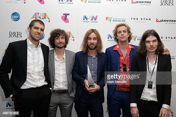 Tame Impala pose in awards room with the ARIA for Album of the Year during the 29th Annual ARIA Awards 2015 at The Star on November 26 2015 in Sydney...