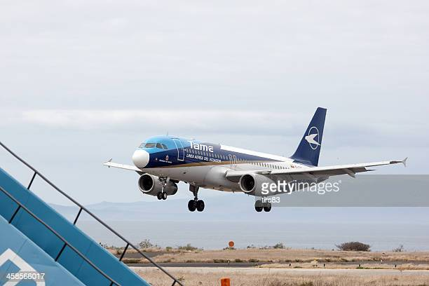 tame jet  landing at baltra on the galapagos islands - tame stock photos and pictures