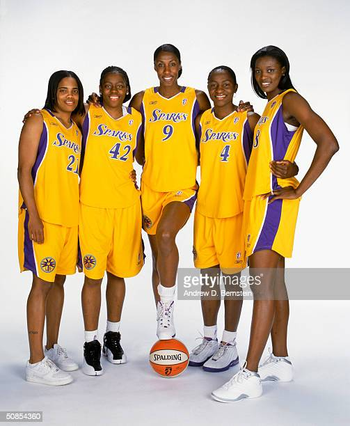 Tamecka Dixon Nikki Teasley Lisa Leslie Mwadi Mabika and DeLisha MiltonJones of the Los Angeles Sparks pose for a Media Day Portrait at Staples...