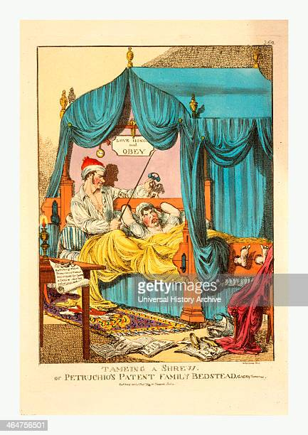 Tameing [ie Taming] A Shrew Or Petruchio's Patent Family Bedstead Gags Thumscrews Tameing A Shrewtaming A Shrew London 1815 Woman Restrained In A Bed...