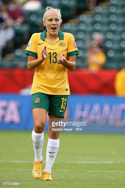 Tameka Butt of Australia celebrates after Australia's 1-1 tie against Sweden during the Women's World Cup 2015 Group D match at Commonwealth Stadium...