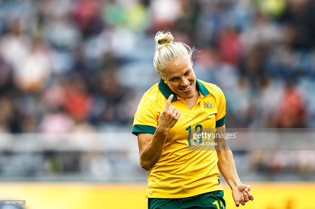 Tameka Butt #13 of Australia celebrates after scoring her team's first goal in the match between China and Australia during the 2015 Yongchuan Women's Football International Matches at Yongchuan Sports Center on October 25, 2015 in Yongchuan, Chongqing of China.