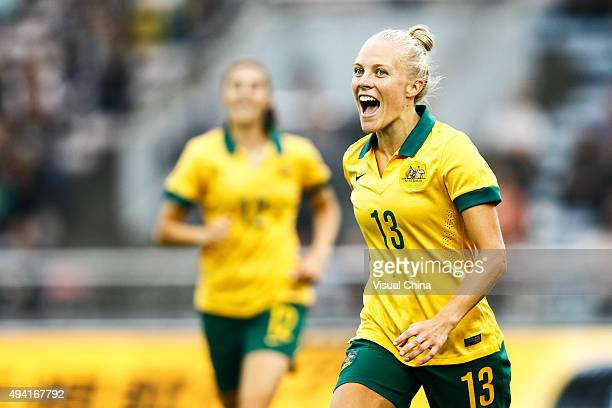 Tameka Butt of Australia celebrates after scoring her team's first goal in the match between China and Australia during the 2015 Yongchuan Women's...