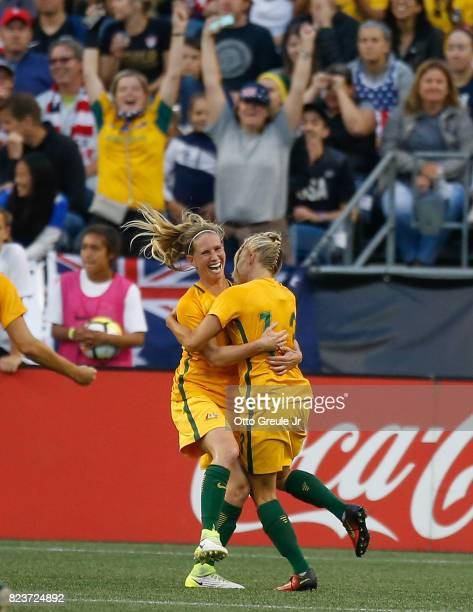 Tameka Butt of Australia celebrates with Elise Kellond-Knight after scoring a goal against the United States during the 2017 Tournament of Nations at...