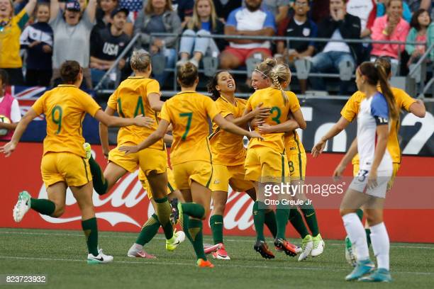 Tameka Butt of Australia celebrates with teammates after scoring a goal against the United States during the 2017 Tournament of Nations at...