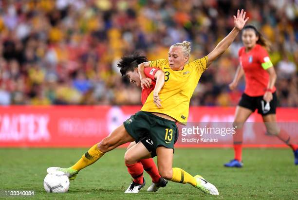 Tameka Butt of Australia challenges for the ball during the 2019 Cup of Nations match between Australia and the Korea Republic at Suncorp Stadium on...