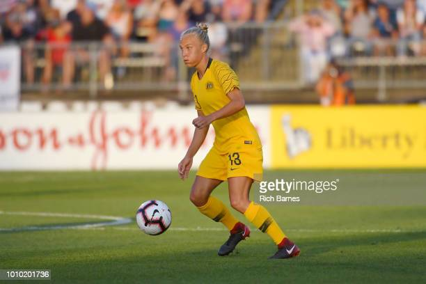 Tameka Butt of Australia controls the ball against the Untied States during the first half of a Tournament of Nations game played at Pratt & Whitney...