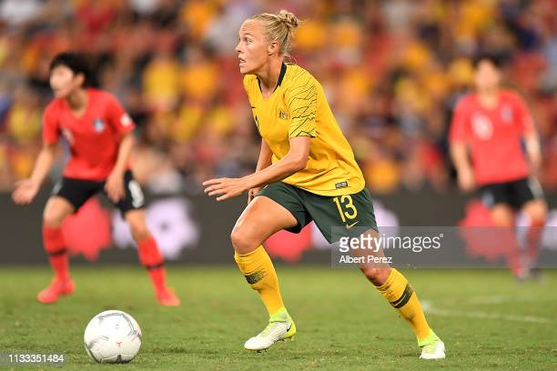 Tameka Butt of Australia dribbles the ball during the 2019 Cup of Nations match between Australia and the Korea Republic at Suncorp Stadium on March...