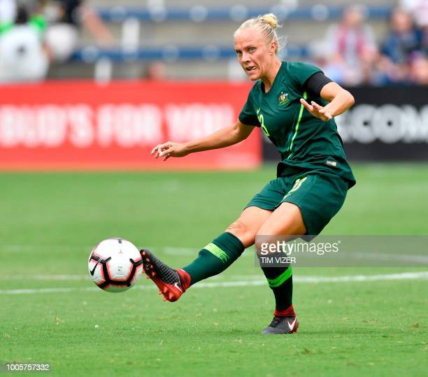 Tameka Butt of Australia hits the ball during the Tournament of Nations football match against Brazil at Children's Mercy Park in Kansas City Kansas...