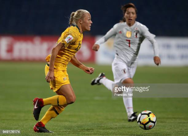 Tameka Butt of Australia in action during the AFC Women's Asian Cup final between Japan and Australia at the Amman International Stadium on April 20,...
