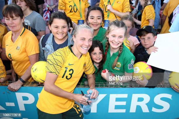Tameka Butt of Australia interacts with fans after the International Friendly match between the Australian Matildas and Chile at Panthers Stadium on...