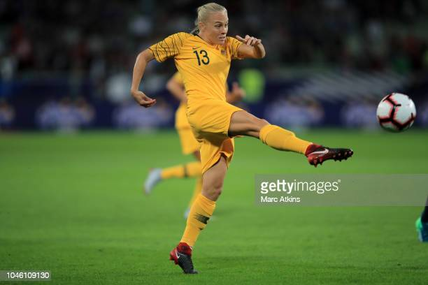 Tameka Butt of Australia shoots during the friendly match between France Women and Australia Women at Stade Geoffroy-Guichard on October 5, 2018 in...