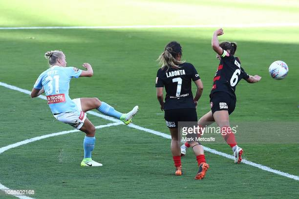 Tameka Butt of Melbourne City scores a goal during the round nine W-League match between the Western Sydney Wanderers and Melbourne City at ANZ...