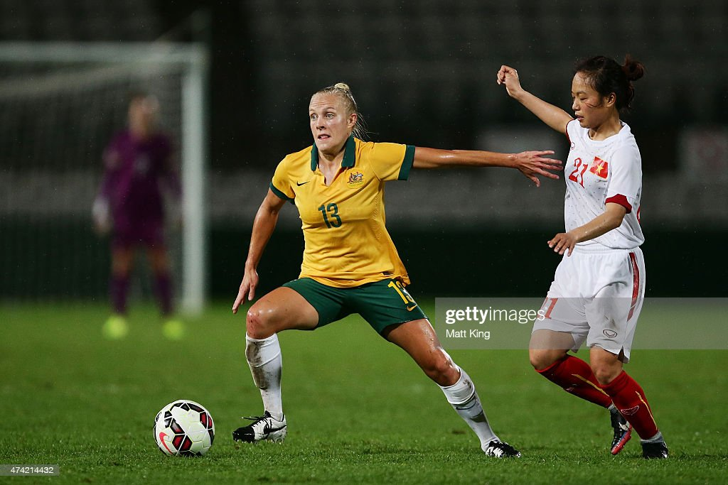 Tameka Butt of the Matildas controls the ball during the international women's friendly match between the Australian Matildas and Vietnam at WIN Jubilee Stadium on May 21, 2015 in Sydney, Australia.