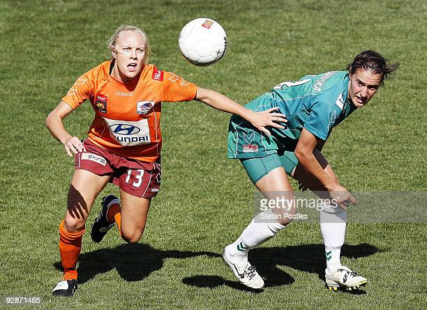 Tameka Butt of the Roar and Snez Veljanovska of United compete for the ball during the round six W-League match between Canberra United and the...