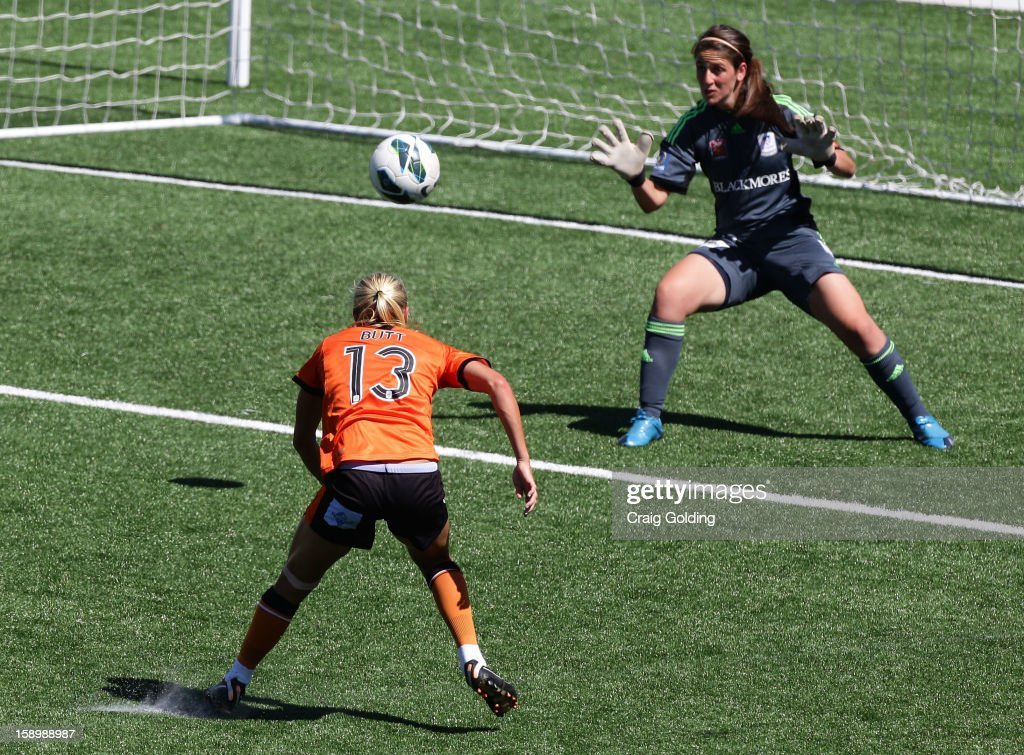 Tameka Butt of the Roar beats Sydney GK Sham Khamis to score during the round 11 W-League match between Sydney FC and the Brisbane Roar on January 5, 2013 in Sydney, Australia.