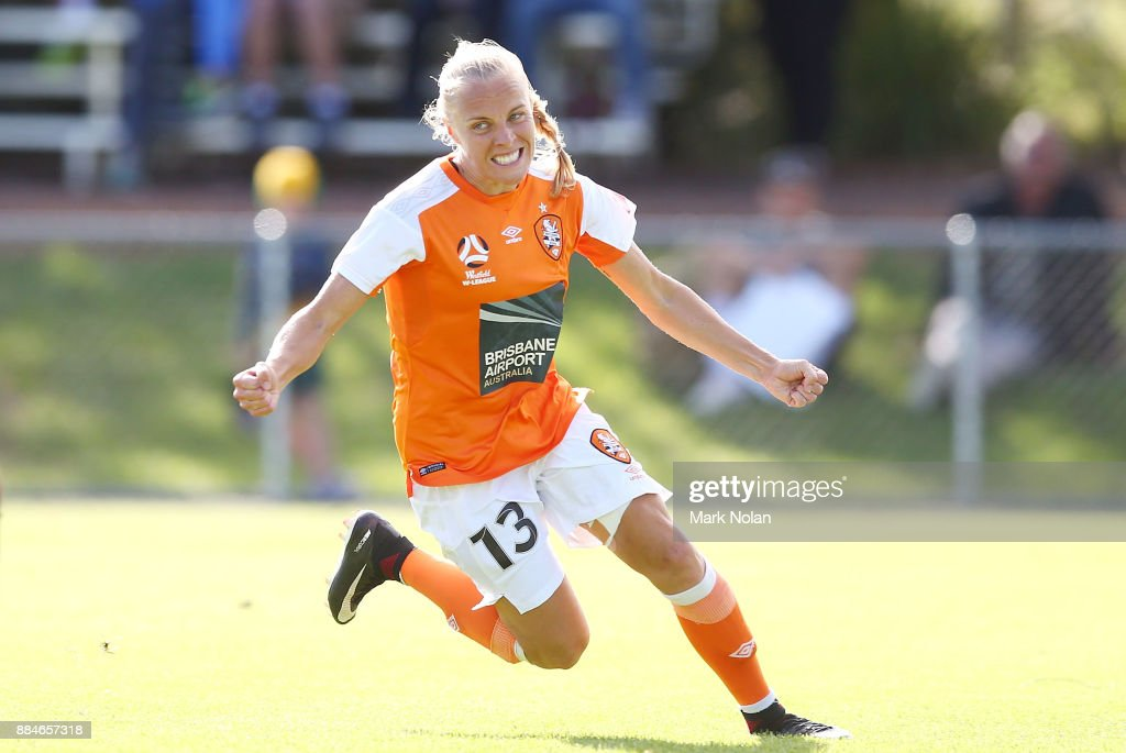 Tameka Butt of the Roar celebrates scoring a goal during the round six W-League match between Canberra United and the Brisbane Roar at McKellar Park on December 3, 2017 in Canberra, Australia.