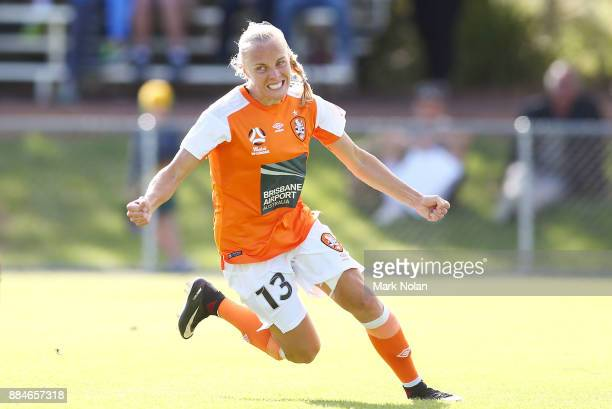 Tameka Butt of the Roar celebrates scoring a goal during the round six WLeague match between Canberra United and the Brisbane Roar at McKellar Park...