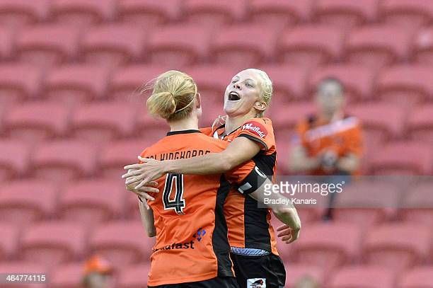 Tameka Butt of the Roar celebrates with Clare Polkinghorne after scoring a goal during the round 10 W-League match between the Brisbane Roar and the...