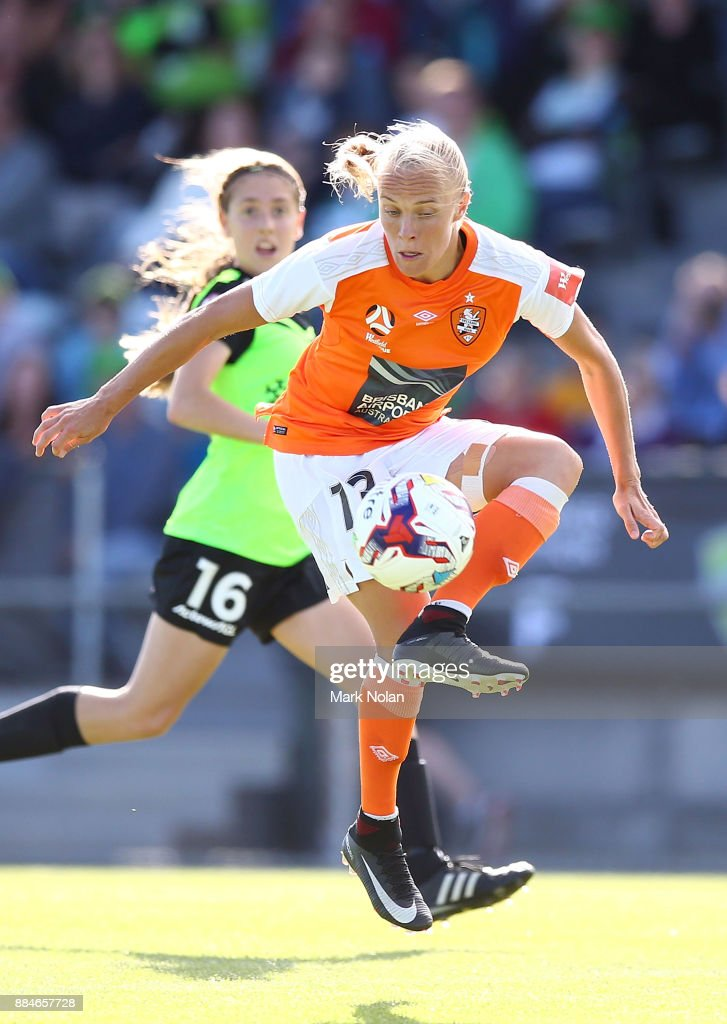 Tameka Butt of the Roar controls the ball during the round six W-League match between Canberra United and the Brisbane Roar at McKellar Park on December 3, 2017 in Canberra, Australia.