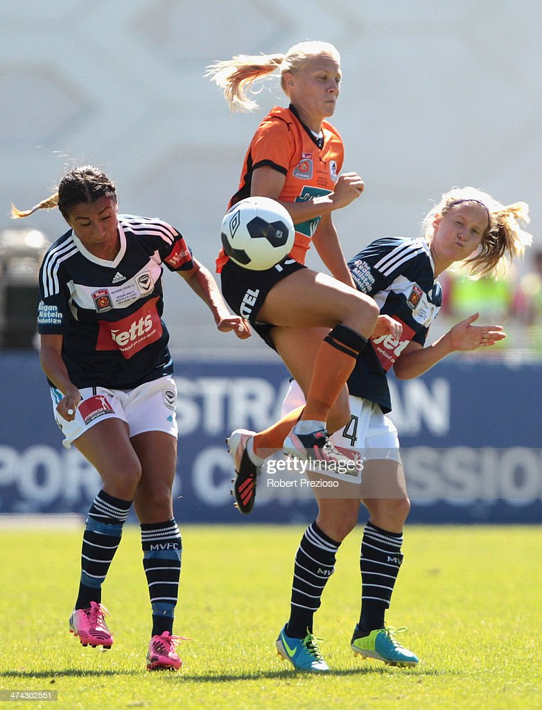 Tameka Butt of the Roar controls the ball during the W-League Grand Final match between the Melbourne Victory and the Brisbane Roar at Lakeside Stadium on February 23, 2014 in Melbourne, Australia.