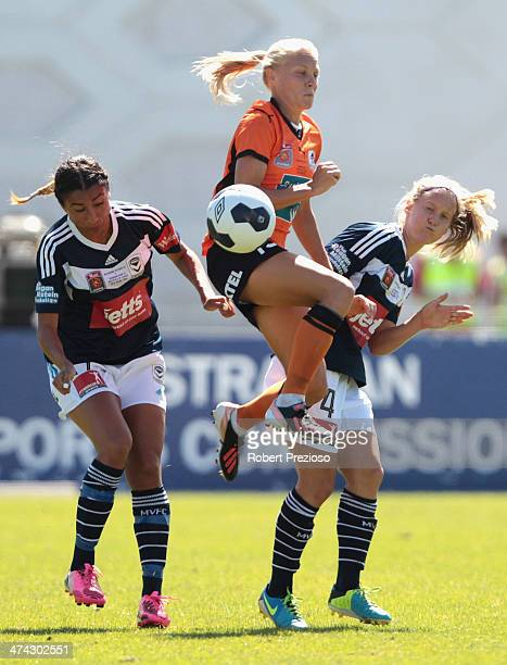 Tameka Butt of the Roar controls the ball during the W-League Grand Final match between the Melbourne Victory and the Brisbane Roar at Lakeside...