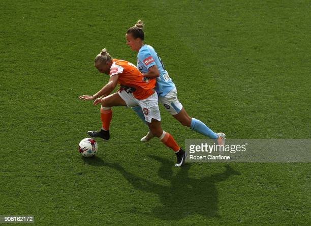 Tameka Butt of the Roar is challenged by Aivi Luik of the City during the round 12 WLeague match between Melbourne City and the Brisbane Roar at AAMI...