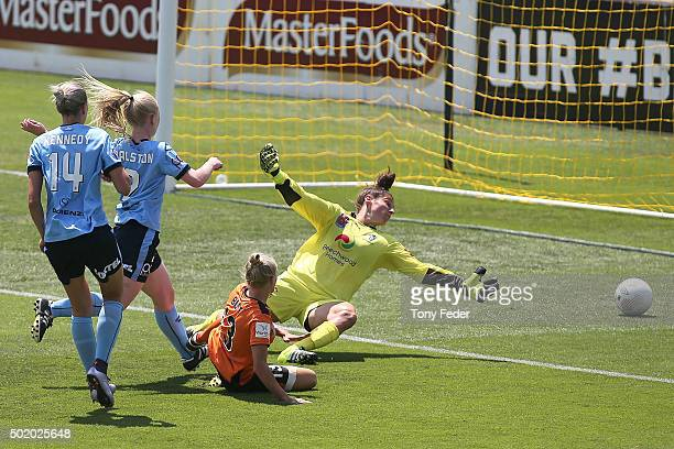 Tameka Butt of the Roar scores a goal during the round 10 W-League match between Sydney FC and Brisbane Roar at Central Coast Stadium on December 20,...