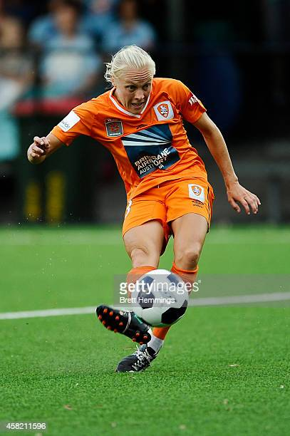Tameka Butt of the Roar shoots for goal to score during the round eight W-League match between Sydney FC and Brisbane Roar at Lambert Park on...