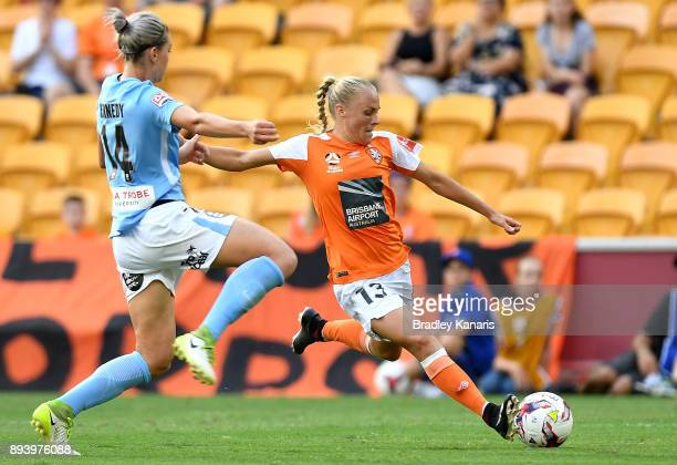 Tameka Butt of the Roar takes a shot at goal during the round eight W-League match between the Brisbane Roar and Melbourne City at Suncorp Stadium on...