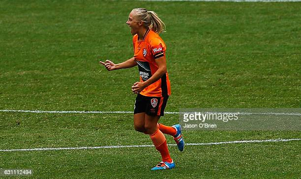Tameka Butt scores the first goal for the Roar during the round 11 W-League match between the Brisbane Roar and the Western Sydney Wanderers at...