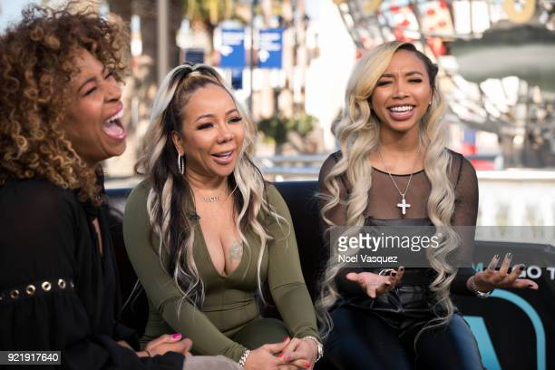 Tameka Cottle and Zonnique Pullins visit Extra at Universal Studios Hollywood on February 20 2018 in Universal City California