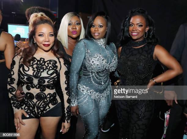 Tameka Cottle, LaTocha Scott, Tamika Scott, and Kandi Burruss of Xscape backstage at the 2017 BET Awards at Microsoft Theater on June 25, 2017 in Los...