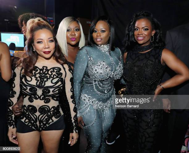 Tameka Cottle LaTocha Scott Tamika Scott and Kandi Burruss of Xscape backstage at the 2017 BET Awards at Microsoft Theater on June 25 2017 in Los...