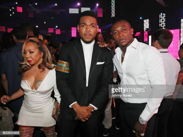 Tameka Cottle of Xscape Chance The Rapper and OT Genasis at 2017 BET Awards at Microsoft Theater on June 25 2017 in Los Angeles California
