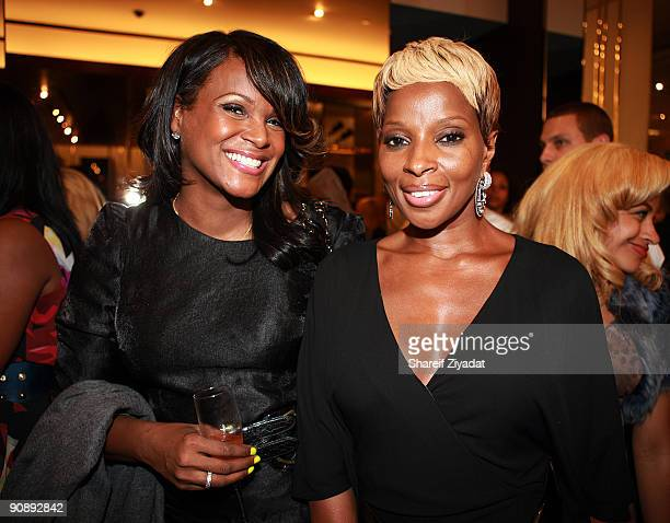 Tameka Foster and Mary J Blige attend the Gucci for FFAWN cocktail party at the Gucci Fifth Avenue store on September 16 2009 in New York City