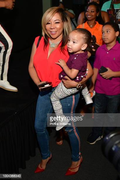 Tameka Harris and Heiress Harris attend 'The Grand Hustle' Exclusive Viewing Party at at The Gathering Spot on July 19, 2018 in Atlanta, Georgia.