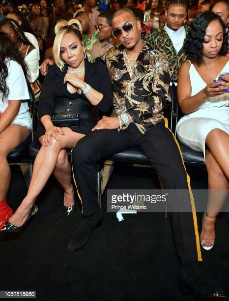 Tameka Harris and TI attend at the BET Hip Hop Awards 2018 at Fillmore Miami Beach on October 6 2018 in Miami Beach Florida